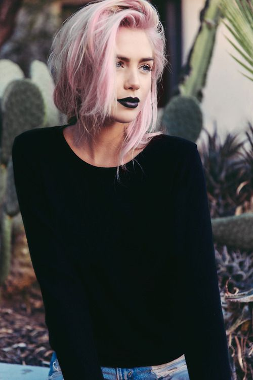 rock look with pink hair and blonde balayage
