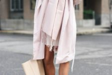 17 all-blush look with a coat, a scarf and heels