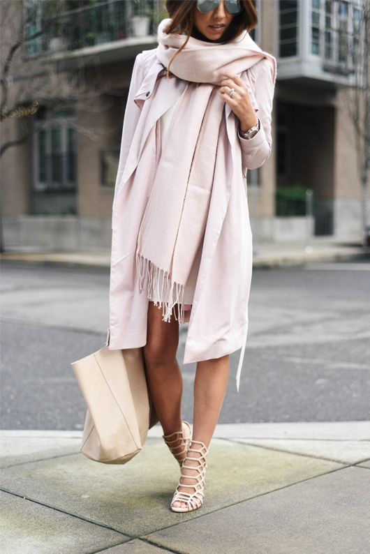 all blush look with a coat, a scarf and heels