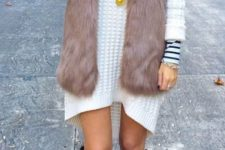 17 white sweater dress, a faux fur vest, burgundy knee boots and leg warmers