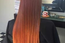 18 bold copper ombre balayage on rather dark red hair