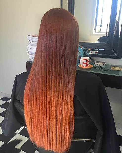 bold copper ombre balayage on rather dark red hair