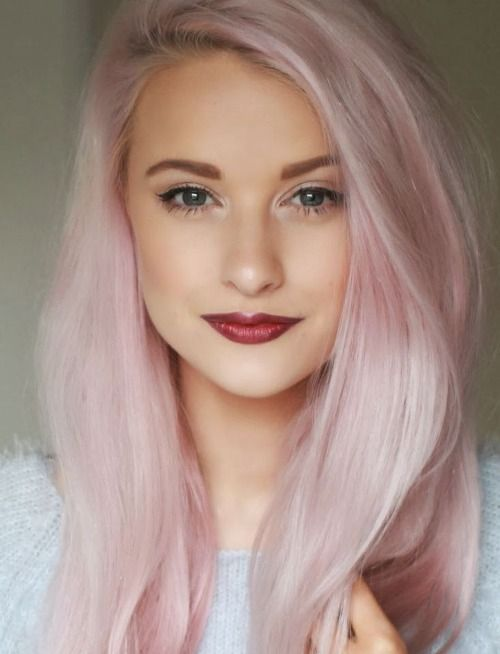 light pink hair looks very romantic and cute