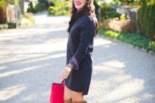 18 navy sweater dress with a plaid shirt, ocher knee boots