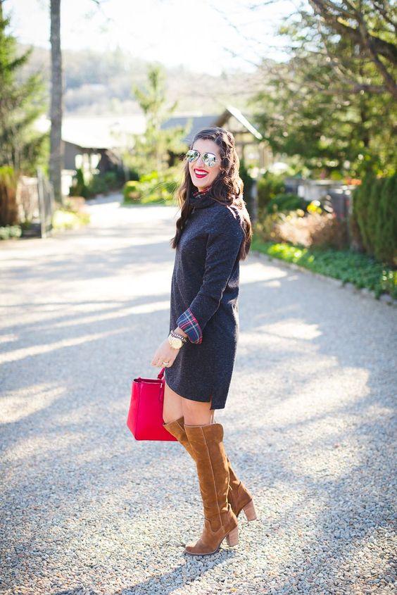 navy sweater dress with a plaid shirt, ocher knee boots