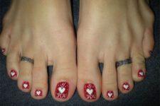 18 red heart polka dot pedicure