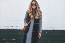 19 grey sweater dress, a long vest and ocher suede boots