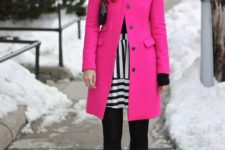 19 hot pink coat and black and white stripes are super stylish