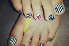 19 whimsy graphic nail art with stripes, polka dots and hearts