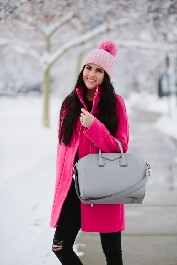 if it's cold outside, a pink beanie and a bold pink coat are enough