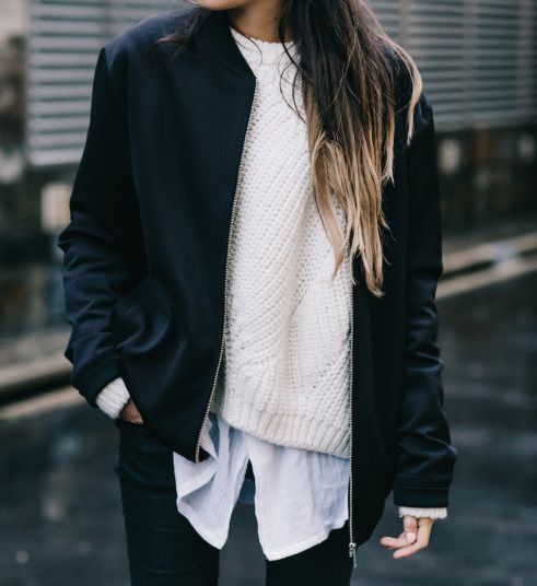 layered look with a shirt, a white chunky knit sweater, a bomber