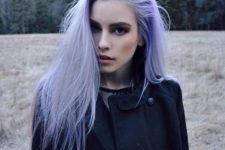 20 lilac hair shade on straight hair