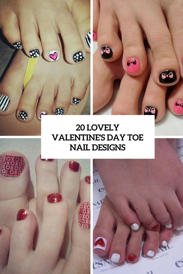 20 Lovely Valentine\'s Day Toe Nails Designs - Styleoholic