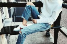 20 plain white hoodie, ripped jeans and sneakers