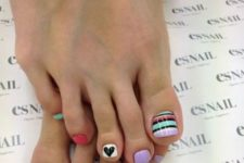 20 whimsy colorful pedicure wwith stripes and hearts
