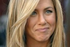 21 dark blonde hair with darker highlights worn by Jennifer Aniston
