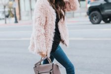 21 pink bow heels and a pink fuzzy coat