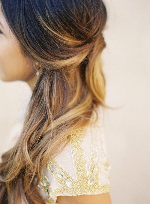 brunette hair with blonde highlights looks romantic
