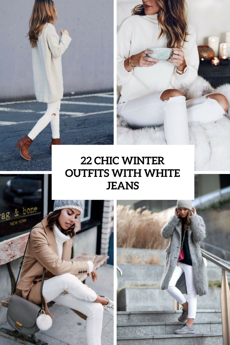 chic winter outfits with white jeans cover
