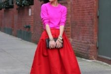 22 neon pink sweater, a hot red skirt and heels