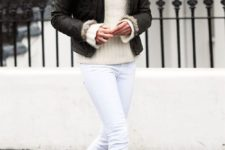 22 white jeans, leopard flats, a creamy swetaer and a short coat