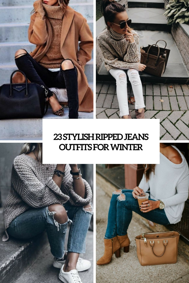 stylish ripped jeans outfits for winter cover