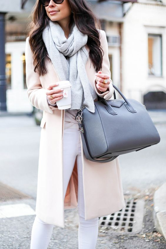 winter pastel look with white denim, a blush coat and a serenity blue scarf