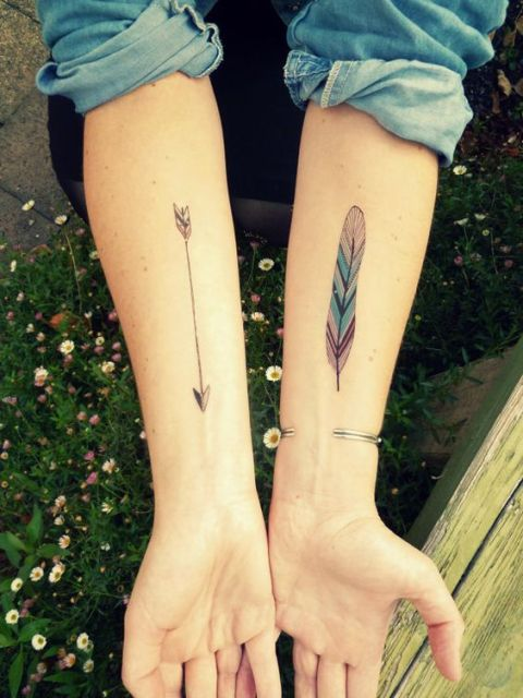 Arrow and feather tattoos