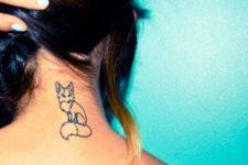 Black-contour tattoo on the back