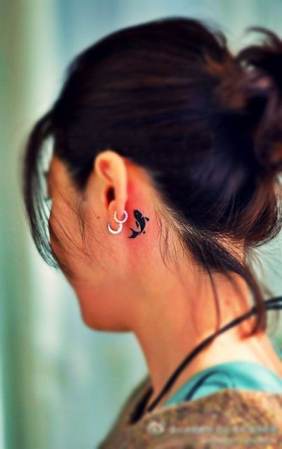 21 Small Fish Tattoo Ideas For Women - Styleoholic Jesus Fish Tattoo Behind Ear