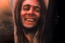 Stunning Bob Marley portrait tattoo idea