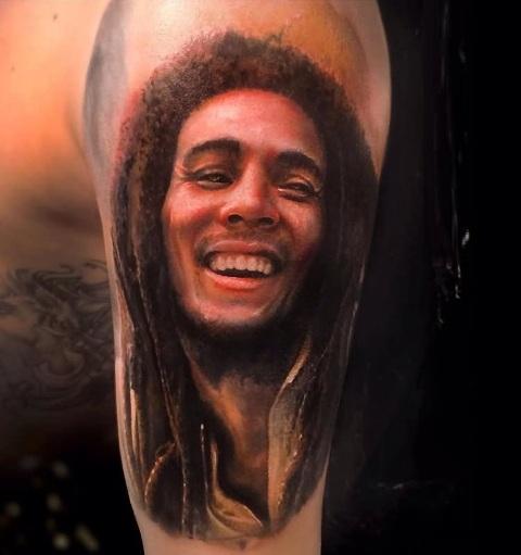 Stunning Bob Marley portrait tattoo idea