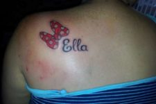 Bow with name tattoo
