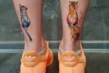 Cat tattoos on the legs