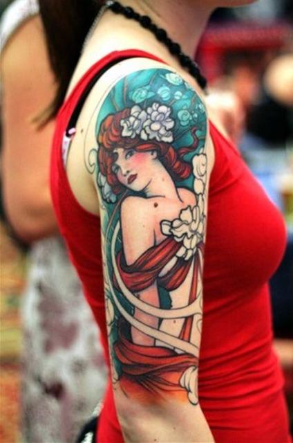 Colored girl portrait tattoo