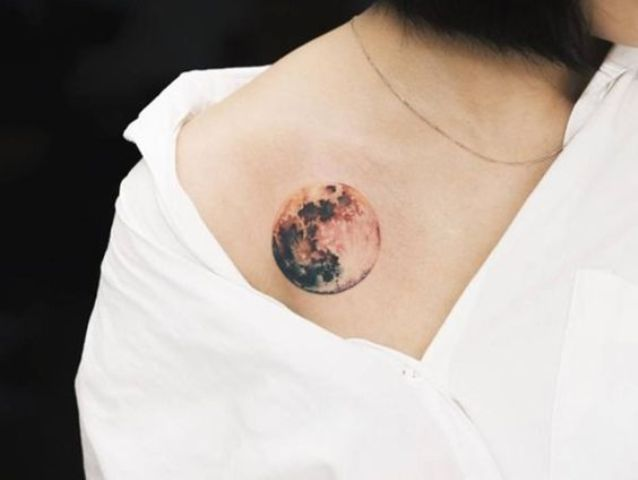 Colored moon on the shoulder