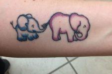 Colorful elephant and baby elephant tattoo