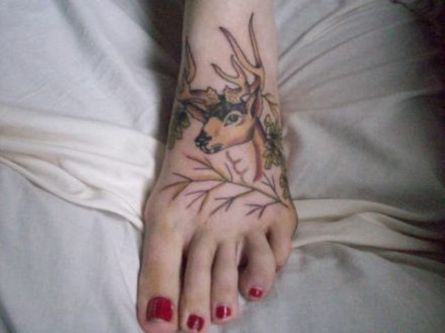 Deer tattoo on the foot