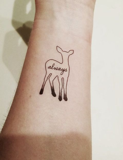 Deer with word always tattoo