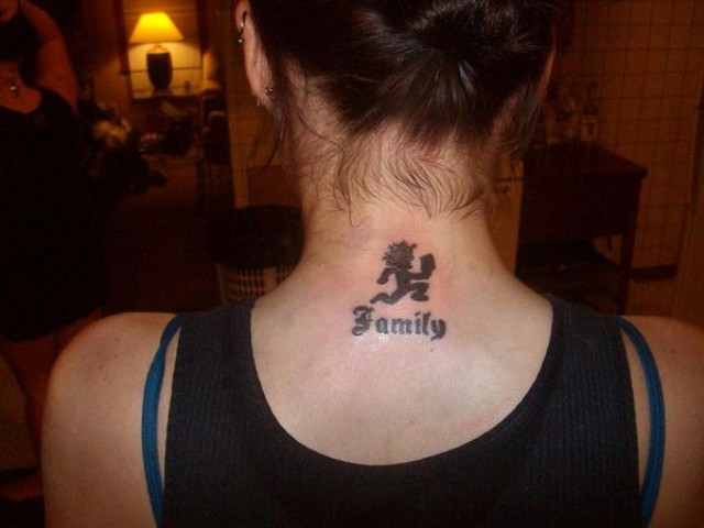Family tattoo on the neck