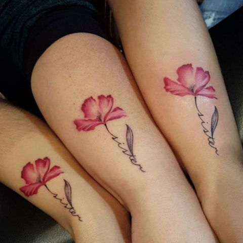 Floral tattoos for sisters