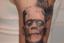 Frankenstein themed tattoo
