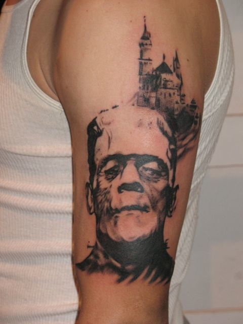 Frankenstein themed tattoo