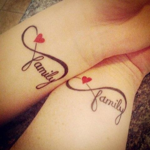Infinity family word tattoos with hearts