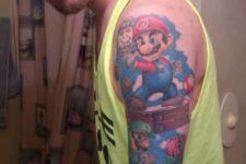 Mario Brothers themed tattoo