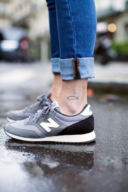 Minimalistic tattoo on the ankle
