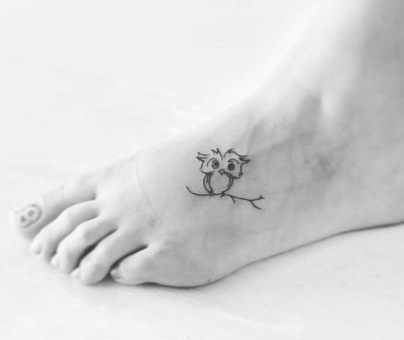 Owl tattoo on the foot