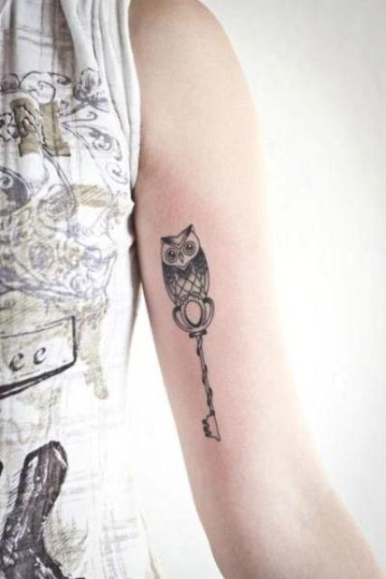 Owl with key tattoo idea