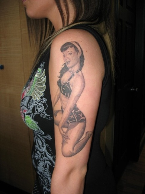 Pin-up girl tattoo idea