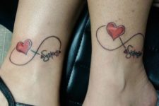 Red heart sister tattoos on the ankles